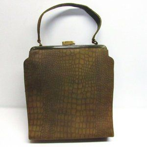 Vintage 50s Tower Chicago Purse Olive Leather Boxy